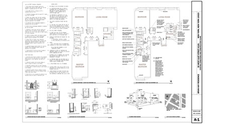 Single Sheet Construction Document for NYC apartment renovation.